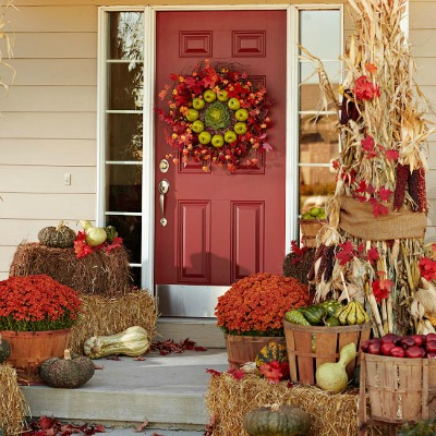 & Front Porch Decorating Ideas for Fall - One Hundred Dollars a Month