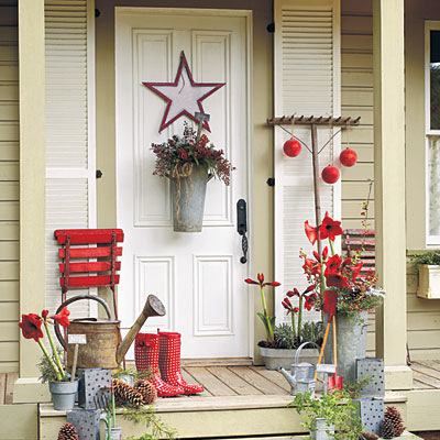 front porch decorating ideas for christmas one hundred. Black Bedroom Furniture Sets. Home Design Ideas