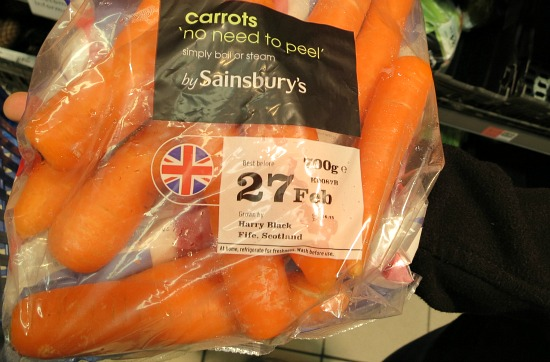 sainsbury packaged carrots