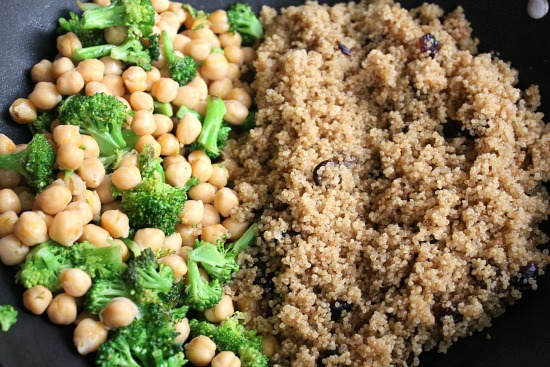 Quinoa Salad with Broccoli, Garbanzo Beans and Cranberries