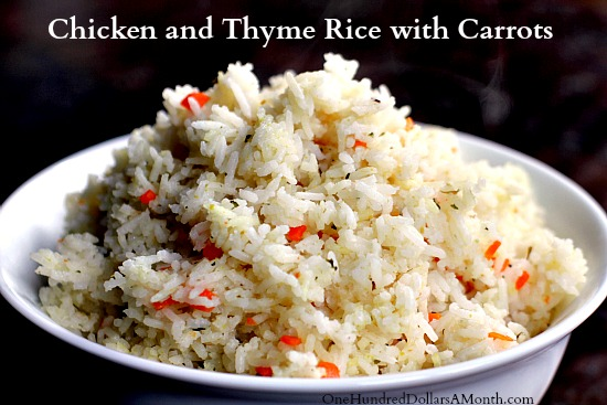 chicken and thyme rice with carrots
