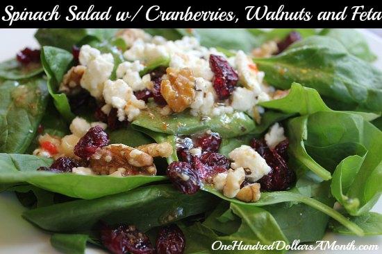 Summer Salad recipes Spinach Salad With Cranberries, Walnuts and Feta