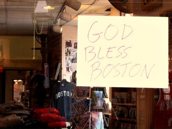 god bless boston sign