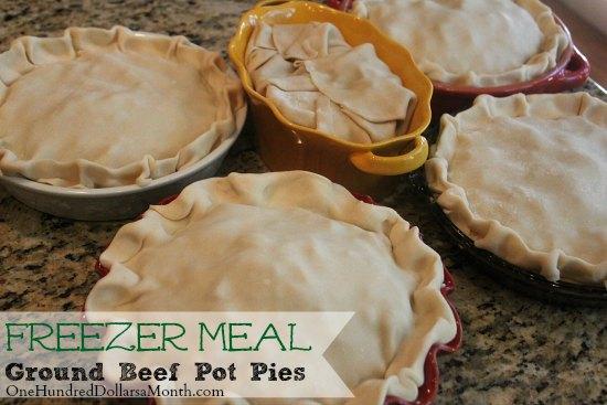 Freezer Meals - Ground Beef Pot Pie
