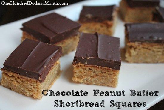 Chocolate Peanut Butter Shortbread Squares