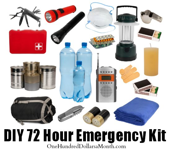 Diy 72 Hour Emergency Kit One Hundred Dollars A Month