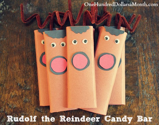 easy kids christmas candy craft ideas rudolf the reindeer candy bar one hundred dollars a month - Christmas Candy Crafts