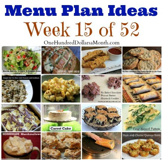 menu plan ideas weekly menus