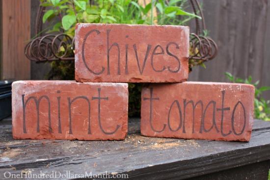DIY Garden Markers Using Bricks