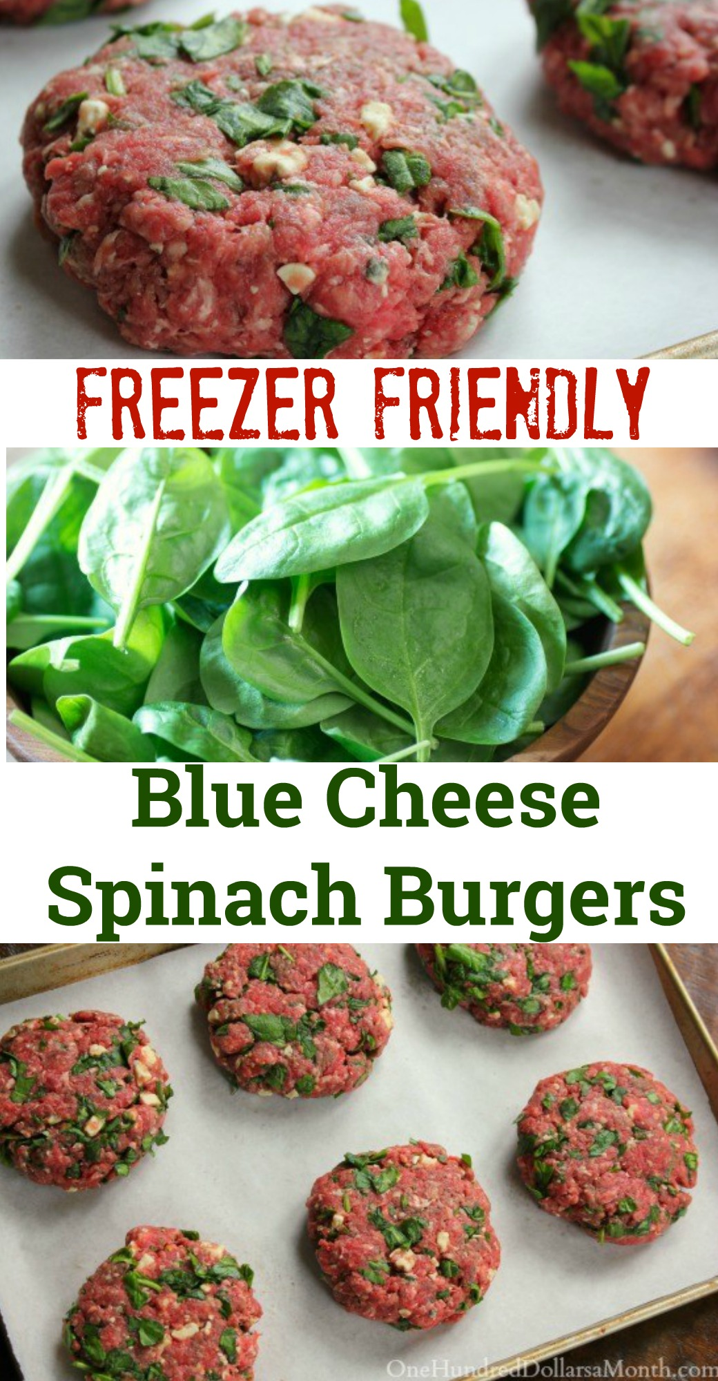 Freezer Meal Gourmet Spinach Blue Cheese Burgers e Hundred