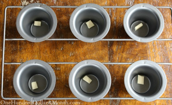 melting butter in a popover pan