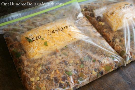 Ground Beef Freezer Meal - Taco Casserole