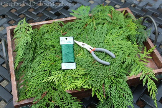 Making a cedar christmas garland from scratch one for Front porch pantry coupon