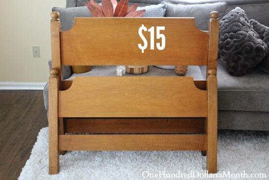wooden twin foot and headboard