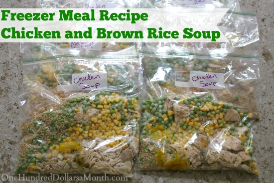 Freezer Meal Recipe - Chicken and Brown Rice Soup