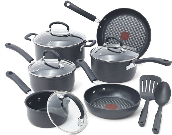 T-fal Ultimate Hard Anodized Cookware Set, Gray