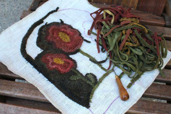 primitive rug hooked flowers rug