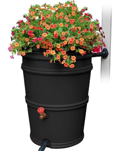 RainStation  Recycled Black Rain Barrel with Diverter