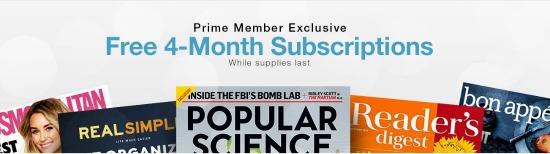 amazon prime free magazine subscription