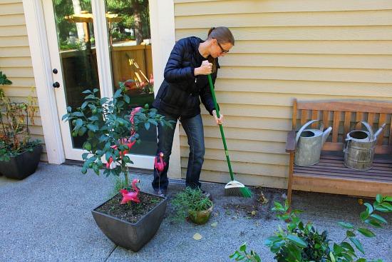 sweeping patio