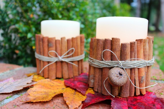 Easy Winter Craft Cinnamon Stick Candle Holders